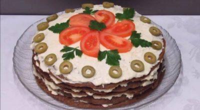 Печеночный тортик с грибами: простые продукты – шикарное блюдо